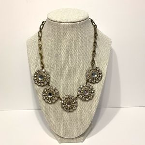 J Crew Statement Necklace Gold Tone Rhinestones